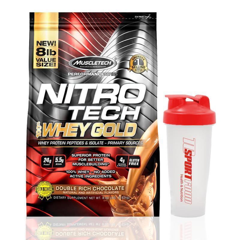 Thực phẩm bổ sung - Sữa tăng cơ - Nitro tech Whey Gold - bịch 8lbs cao cấp