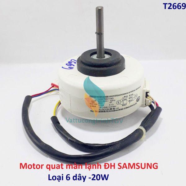 Motor quạt màn lạnh Điều hòa Samsung 6 dây 220V-20W trục dài 5 cm