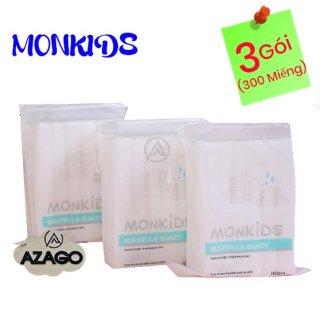 COMBO 3 gói bông tẩy trang 100% cotton 3 lớp mềm mịn thấm hút cực tốt 300 miếng BTT02AZ - Thương Hiệu MONKIDS thumbnail