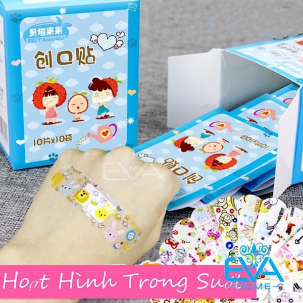 Hộp 100 Miếng 10 Set Băng Keo Cá Nhân Hoạt Hình Cute Bandages Trong Suốt cao cấp