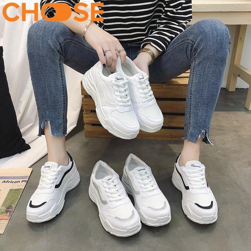 Giày Nữ Sneaker Đế Độn Giày Thể Thao Nữ Giày Bata Giày Lười Màu Trắng Mẫu Mới Mùa Hè Phối Viền Phong Cách Năng Động Mới 2907 Giá Cực Cool