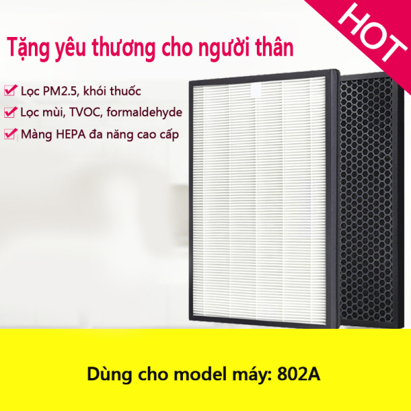 Màng lọc lưới lọc không khí màng lọc HEPA cho model máy lọc không khí 802A loại bỏ khói thuốc, bụi mịn PM2.5, formaldehyde, lông tóc, màng HEPA cao cấp than hoạt tính lọc sạch màng lọc lưới lọc (1 bộ 2 miếng)