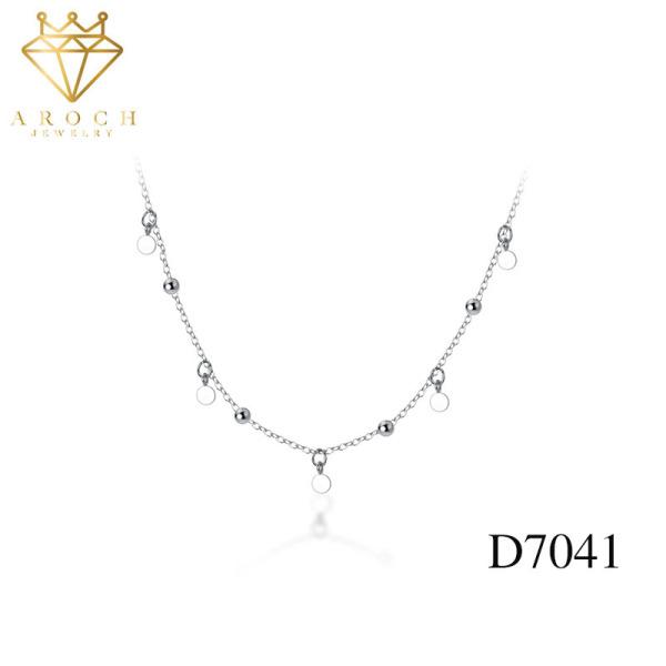Dây chuyền bạc Ý s925 trái tim nhỏ tua rua D7041 - AROCH Jewelry