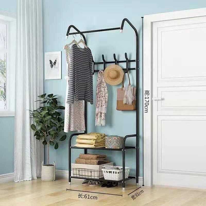 Giá treo quần áo trong nhà kèm móc treo mũ nón thông minh và kệ đựng đồ dùng cho gia đình khung thép không gỉ chịu lực tốt, dễ lắp đặt và di chuyển mọi nơi - Sắp xếp không gian nội thất thêm sang trọng