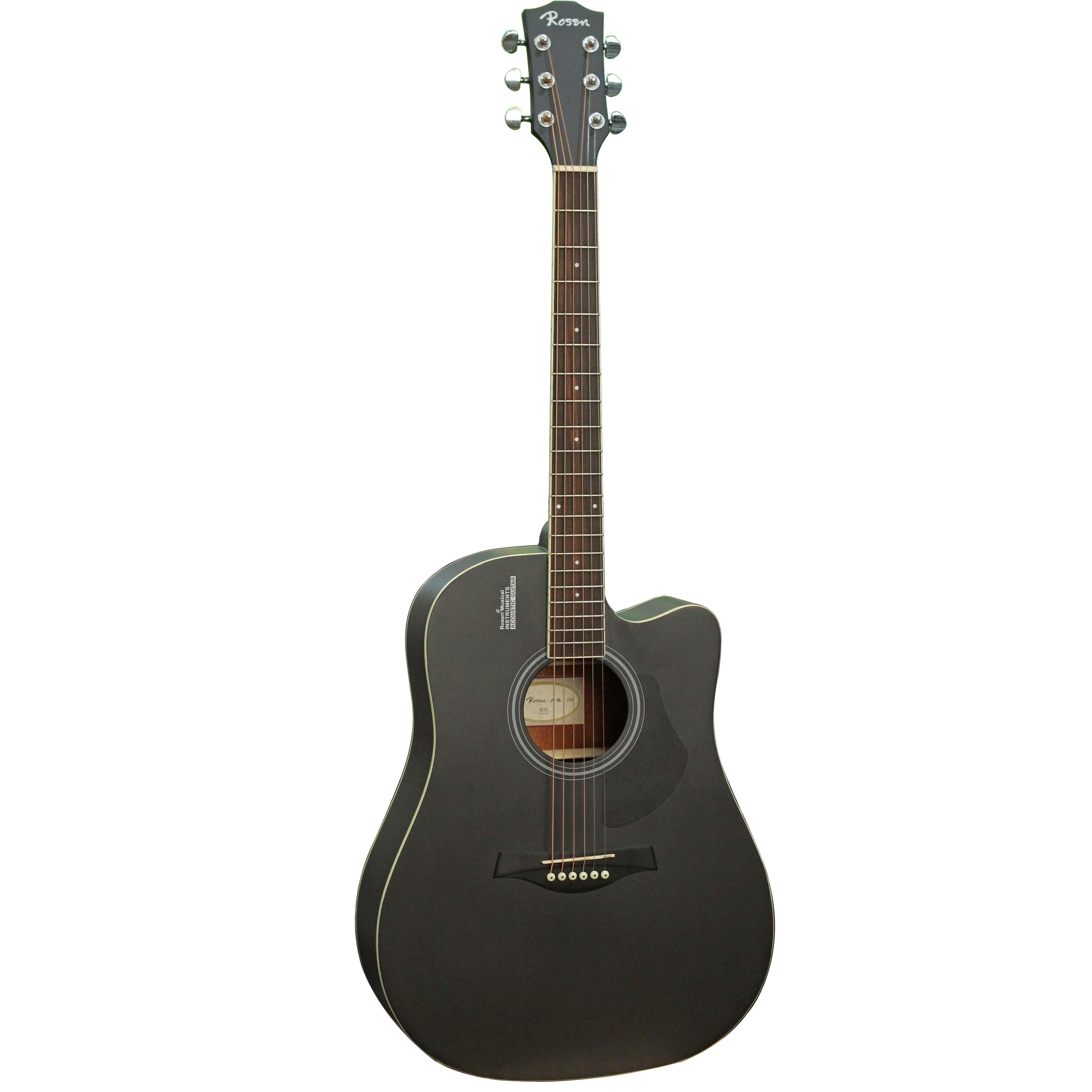 Đàn Guitar Acoustic Rosen Đen G11 (Gỗ Thịt- Solid top) Tặng bao,capo,pic,ty chỉnh cần
