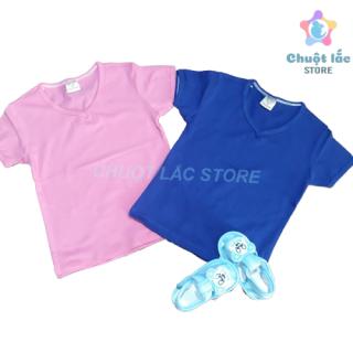 Combo 2 áo thun trơn basic, áo thun cổ tim cho bé trai và bé gái chất liệu cotton 4 chiều mềm mại hút mồ hôi cho bé từ 8kg đến 18kg (màu ngẫu nhiên theo giới tính)