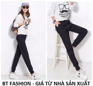 Quần Dài Nữ Thun Phom Rộng Jogger Thể Thao Thời Trang Hàn Quốc - BT Fashion (TT01B-TRƠN) thumbnail