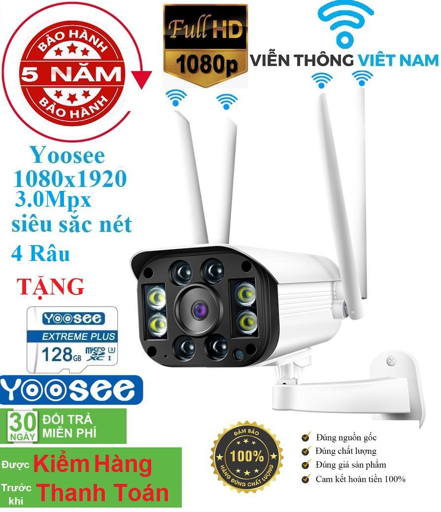 [XẢ KHO  CÓ MẦU BAN ĐÊM TẶNG THẺ NHỚ 128GB] camera wifi 3.0 ngoài trời - trong nhà camera yoosee 4 Râu 3.0 Mpx full hd 1080p - hỗ trợ 4 đèn hồng ngoại và 4 đèn LED + kèm thẻ nhớ 128GB - NEW (MÃ KÈM THẺ 589K VÀ KHÔNG THẺ 499K)