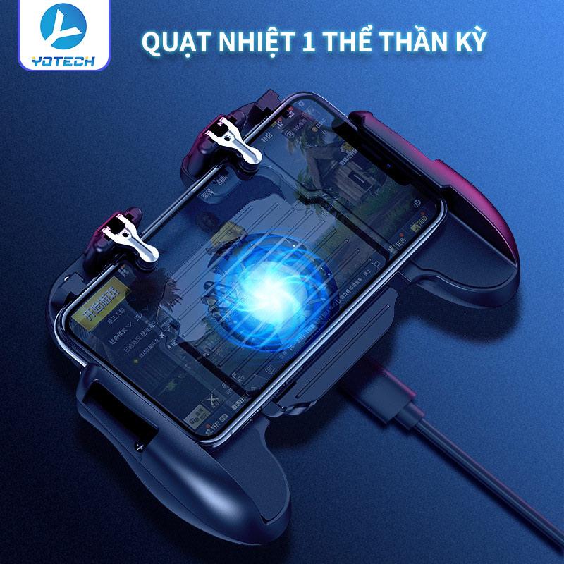 [4 trong 1] Tay cầm chơi game PUBG thần kỳ mẫu mới, tay cầm trợ giúp chơi game có quạt tỏa nhiệt làm mát điện thoại, tay cầm chơi game USB kèm nút tích hợp cảm ứng cực nhạy, bắn súng với độ chính xác cao, sạc điện thoại