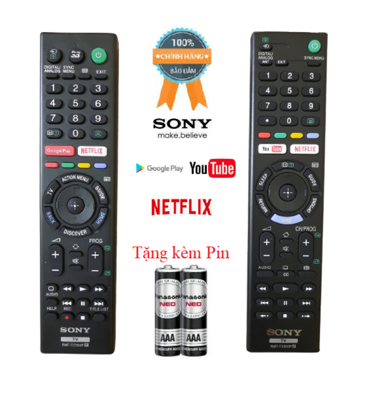 Bảng giá Điều khiển tivi Sony RMT- TX300P,TZ300P Hàng đẹp Logo Sony mạ bạc cao cấp, Hàng xuất Malaysia 100% Tặng kèm Pin