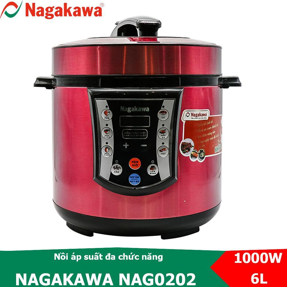 Nồi áp suất đa năng nắp rời 6L Nagakawa NAG0202, bảng điều khiển điện tử tích hợp nhiều chức năng nấu