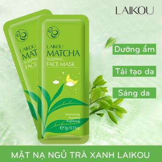 SET 3 miếng Mặt nạ ngủ trà xanh LAIKOU dưỡng ẩm và chống lão hóa mặt nạ ngủ matcha mặt nạ dưỡng da mặt nạ nội địa Trung JS-MN13 thumbnail