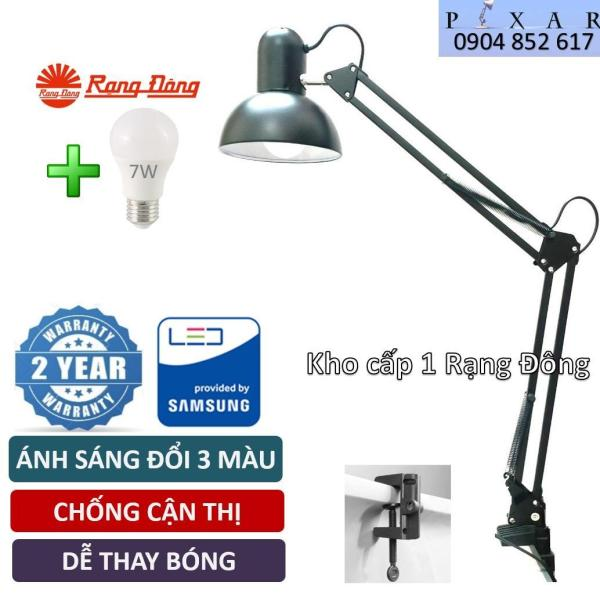 Đèn Bàn Kẹp , 7W, Bóng LED Đổi 3 Màu Rạng Đông, SAMSUNG ChipLED, kèm kẹp bàn, Mã: PX 01
