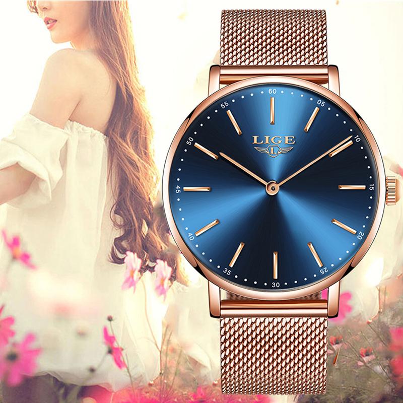 Nơi bán LIGE Đồng hồ đeo tay nữ siêu mỏng chống nước thể thao không thấm nước lưới thép không gỉ Thời trang Đơn giản Analog Quartz Quartz Đồng hồ đeo tay