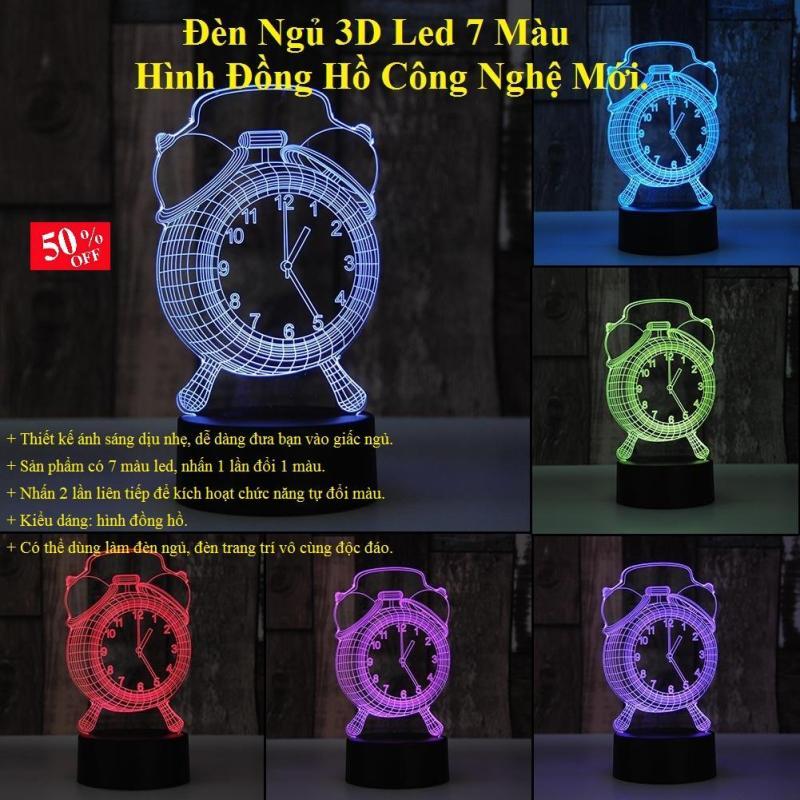 Đèn Ngủ 3D Led 7 Màu Hình Đồng Hồ Công Nghệ Mới Thiết Kế Ánh Sáng Dịu Nhẹ, Dễ Dàng Đưa Bạn Vào Giấc Ngủ Êm Ái.