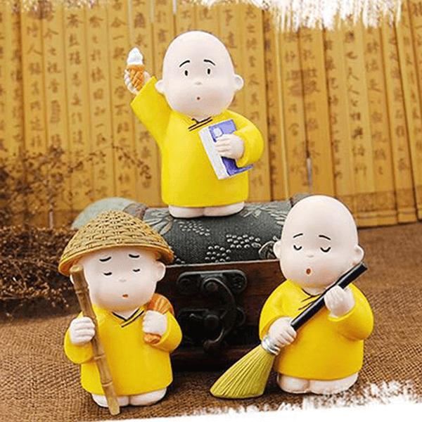 Bộ tượng trang trí hình 3 chú tiểu ÁO VÀNG đáng yêu Nhật Bản