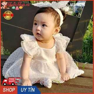 Body váy ren trắng tặng kèm tuban cho bé gái 3-16kg - V016 (Màu: trắng) - Váy bé gái, đầm bé gái dễ thương, váy hè, váy dạ tiệc - Đầm công chúa, body váy, đầm cho bé gái - Shop Chen - Shubi