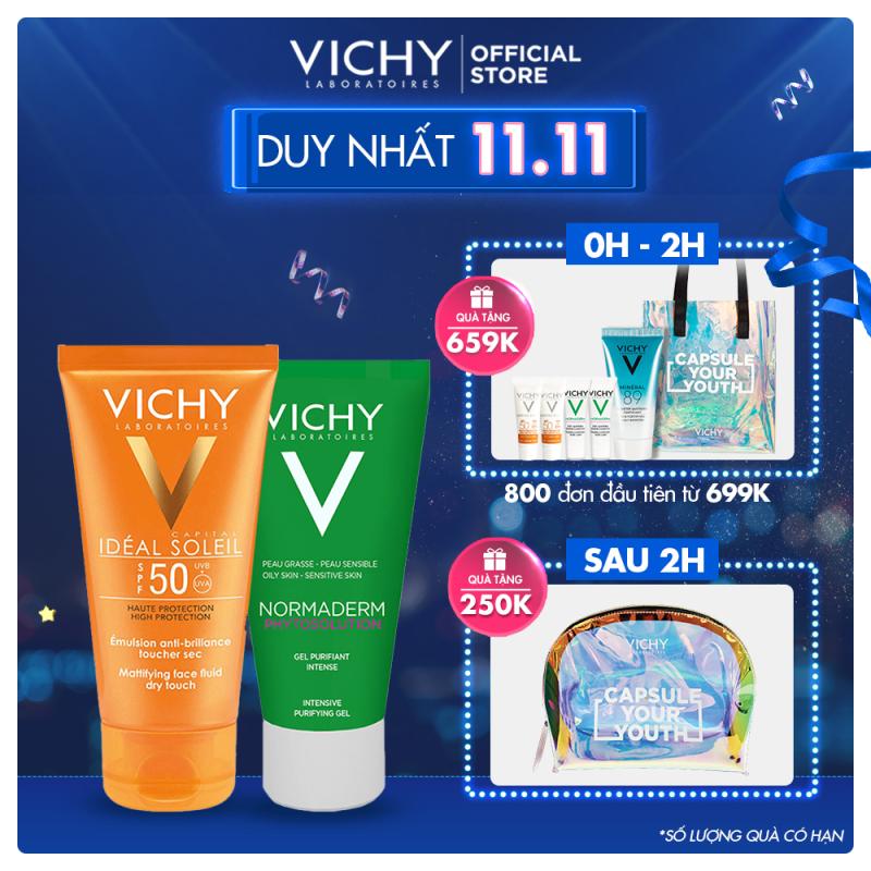 Bộ kem chống nắng không gây nhờn rít Vichy Ideal Soleil Dry touch 50ml và Gel rửa mặt Normaderm Phytosolution 50ml nhập khẩu