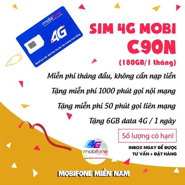 Sim 4G 10 số Mobifone C90N Mỗi tháng Tặng 120GB + Miễn phí gọi 1000p nội mạng + 50p gọi ngoại mạng