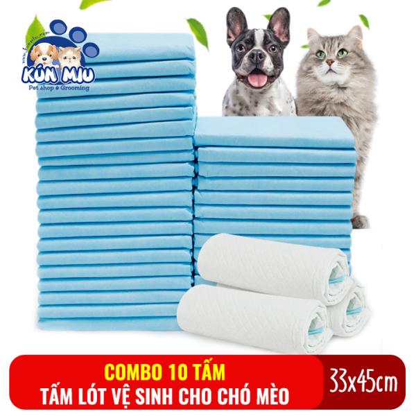 Combo 10 tấm lót vệ sinh cho chó mèo Kún Miu kích cỡ 33x45cm