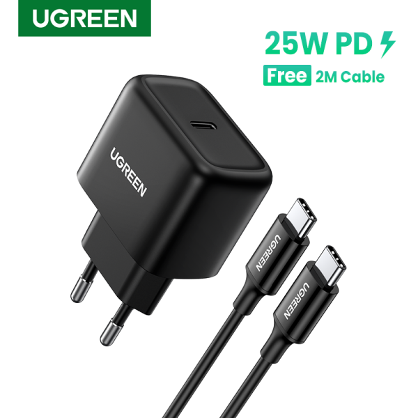 Ugreen PD 25W Fast Charger with 2m C-C Cable Power Delivery Fast Charger for Samsung Galaxy S20, S10+, Note 20,10, Samsung Galaxy Fold