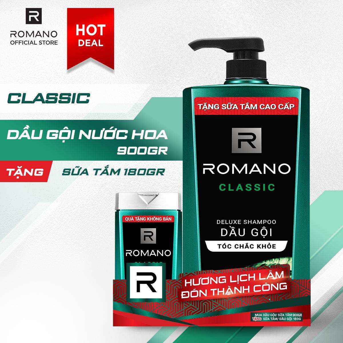 Dầu gội Romano Classic cổ điển lịch lãm tóc chắc khỏe 900gr- Tặng sữa tắm Romano Classic 180g nhập khẩu