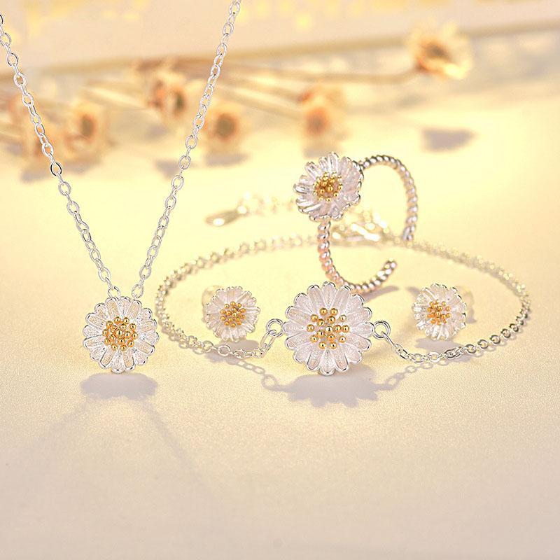 Bộ trang sức Hoa Cúc nhỏ bạc s925 style Hàn Quốc