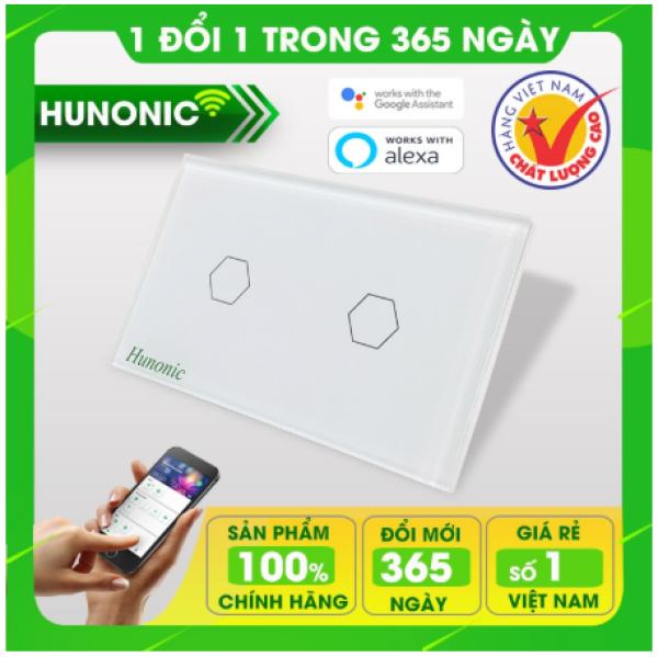 ÔNG TẮC CẢM ỨNG CHẠM THÔNG MINH HUNONIC 2 NÚT│Công tắc thiết bị điện Wifi nhà thông minh hàng Việt Nam giá rẻ