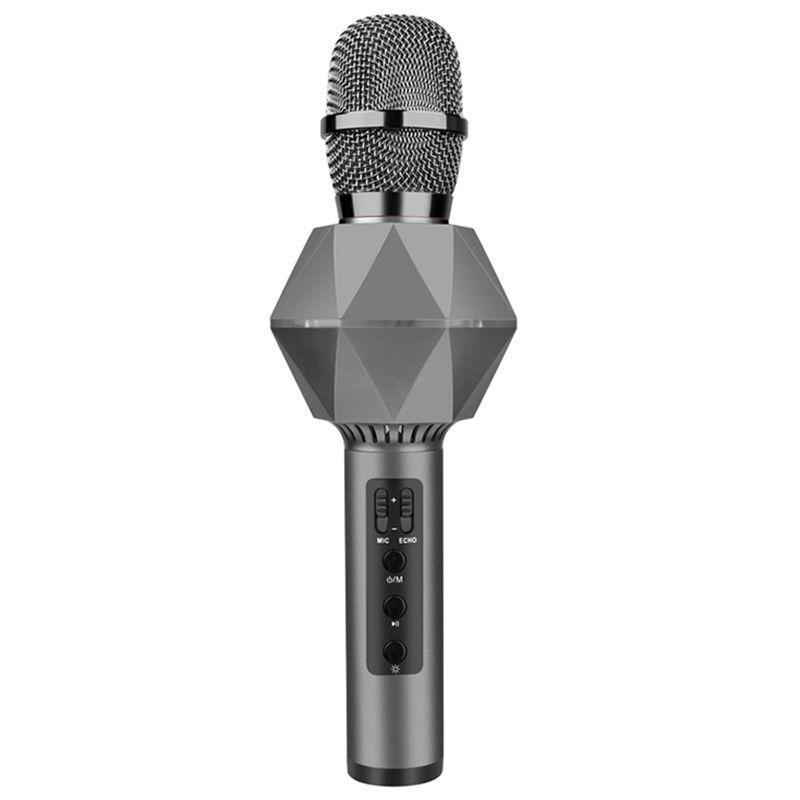 K7 Karaoke Condenser Bluetooth Wireless Microphone Metal Microphone Kara Ok Music Singing Bt Wireless Mic For Android Ios-Dark Gray