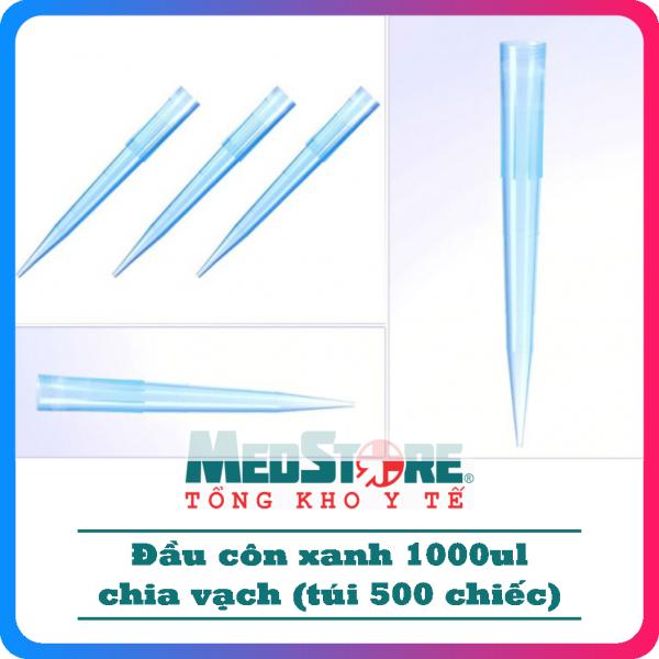 Đầu côn xanh chia vạch (pipet tip) 1000ul dùng thí nghiệm (túi 500 chiếc) - TBYT Medstore cao cấp