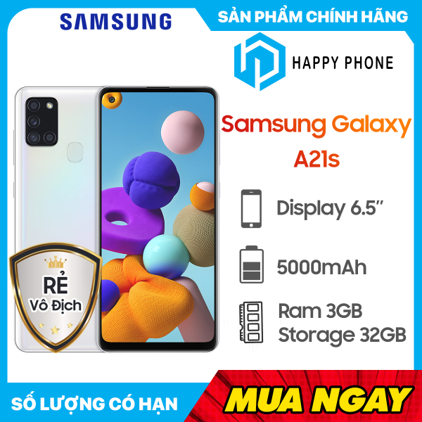 Điện Thoại Samsung Galaxy A21s (32GB/3GB) - Hàng chính hãng, Nguyên seal, mới 100%, Bảo hành 12 tháng