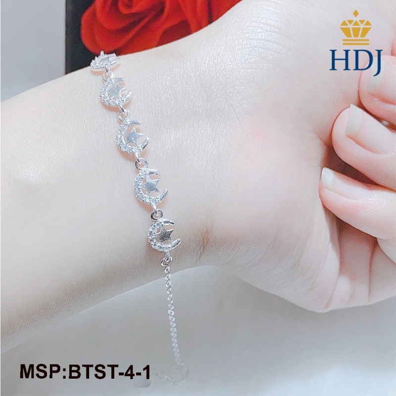 Combo lắc tay và lắc chân bạc nữ hình trăng sao đính đá sang trọng trang sức cao cấp HDJ mã BTST-4-1
