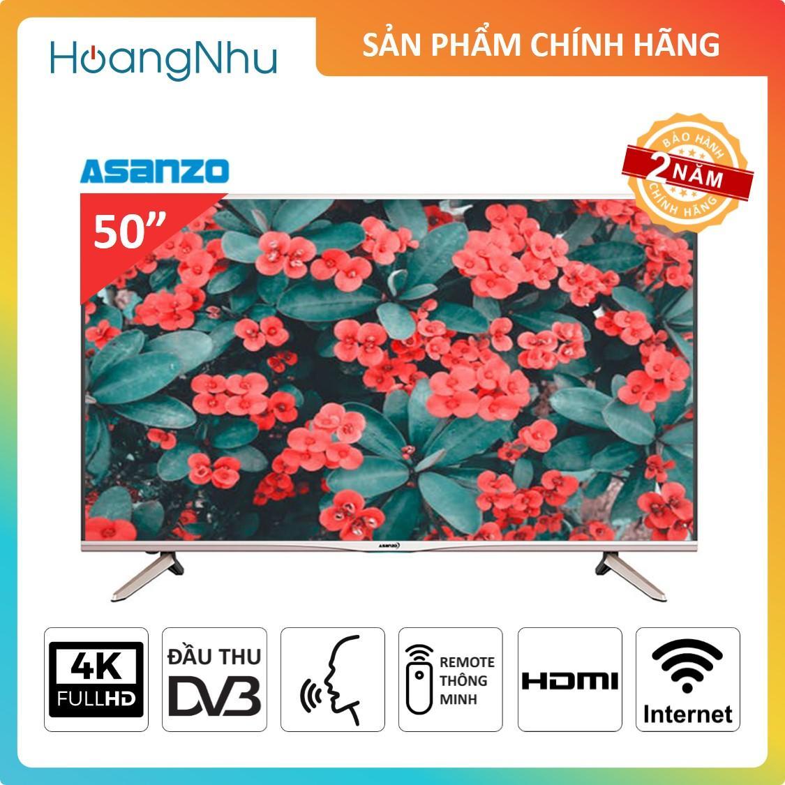 Bảng giá Smart TV 4K Asanzo 50X9 50 inch - ĐK giọng nói (HDH Android 6.0, Wifi, Ultra HD 4K, Truyền hình KTS, tặng Remote thông minh và USB + List nhạc Karaoke 12.000 bài)