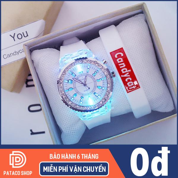 Nơi bán Đồng hồ thời trang nam nữ hiển thị đèn Led phát sáng 7 màu C119 mặt tròn viền đính đá dây Silicon bền bỉ (Bảo hành 6 tháng)
