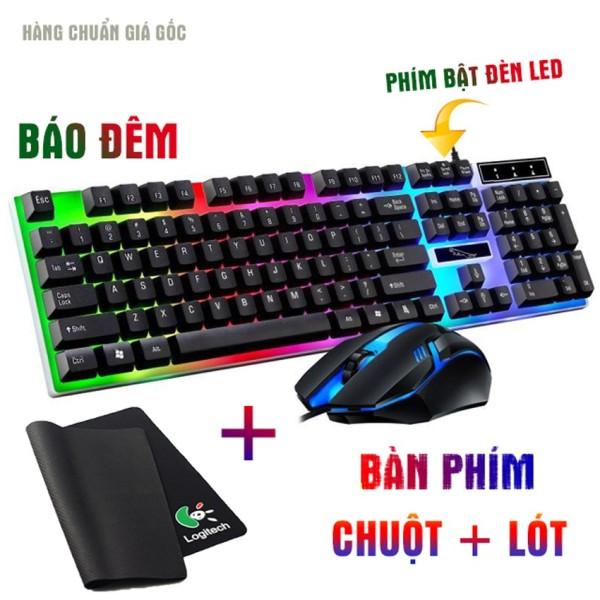 Bàn phím game giả cơ chuột game dành cho game thủ NTC G21B led đa màu tặng bàn di chuột (2 màu đen trắng)