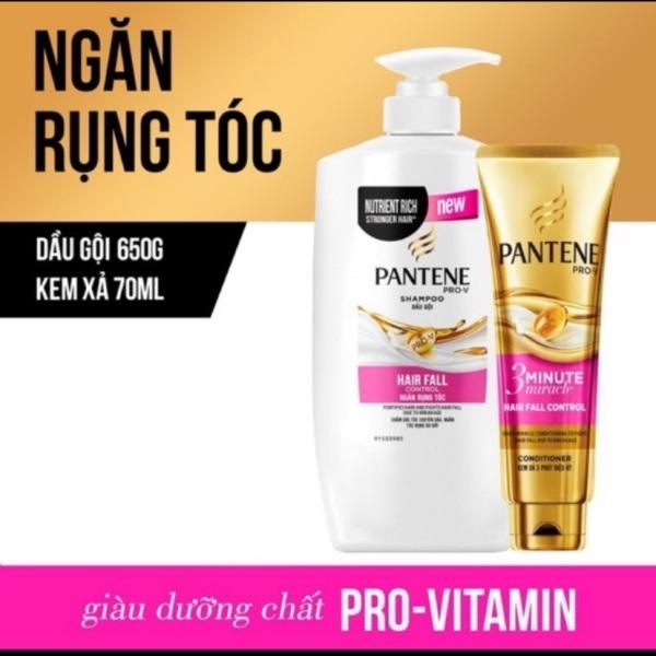 Bộ 1 dầu gội Pantene ngăn rụng tóc 650g và 1 kem xả Pantene ngăn rụng tóc 70ml