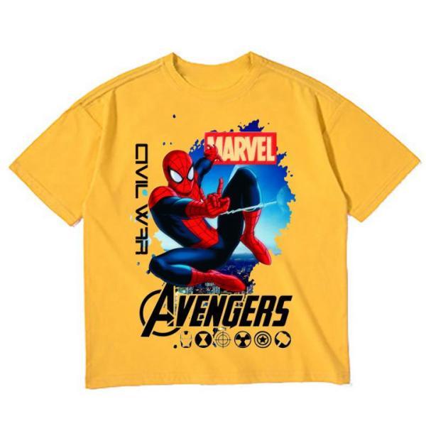 Áo thun bé trai vải dày mịn mát in hình Spider Man 3D được các bé trai yêu thích