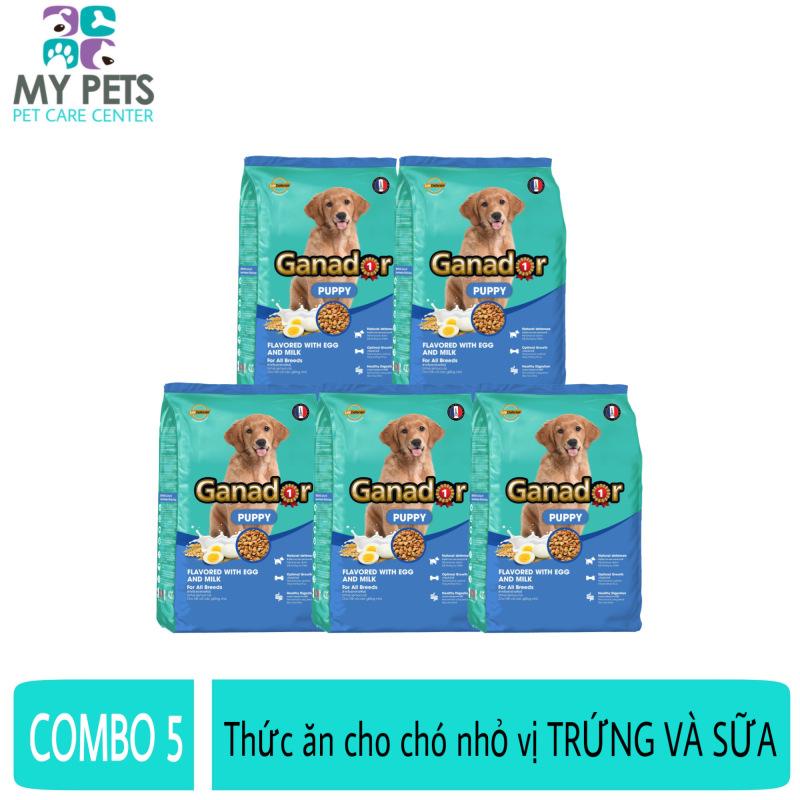 (COMBO 5) Thức ăn cho chó nhỏ hương vị trứng và sữa Ganador puppy Flavored With Egg And Milk - Gói 400g