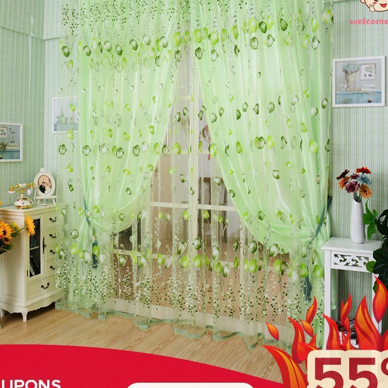 Sang trọng Phòng Hoa Tulip Curtain Xanh Lá-Quốc Tế