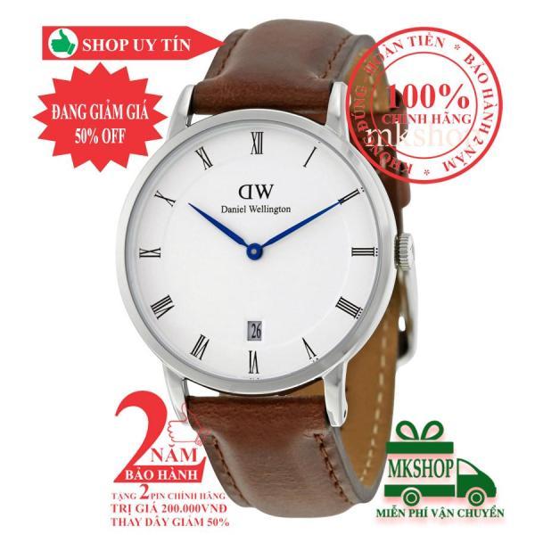 Đồng hồ thời trang nữ DanieI Wellington St Mawes 34mm - Màu Bạc (Silver), mặt trắng (White), dây da nâu, DW00100095