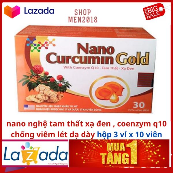 Nano Curcumin Gold 30 viên tam thất , xạ đen , coenzym Q10 hỗ trợ viêm dạ dày cấp và mãn tính