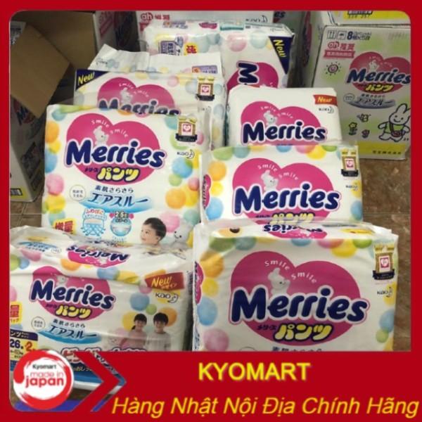 Bỉm Merries dán/quần mẫu mới, nội địa Nhật NB96/S88/M64/M68/L58/L50/XL44/XXL28