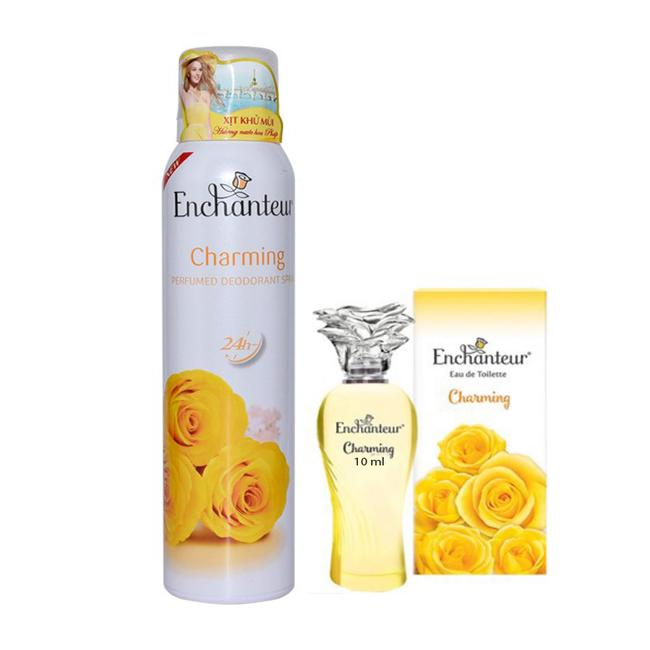 Combo Xịt Khử Mùi Enchanteur Charming 150ml+ Nước hoa 10ml