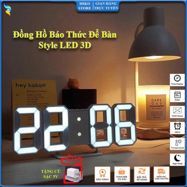 Đồng Hồ LED 3D Thông Minh, Đồng Hồ Báo Thức Để Bàn, Treo Tường, Làm Quà Tặng Phong Cách. Tặng kèm củ sạc 5V bán chạy