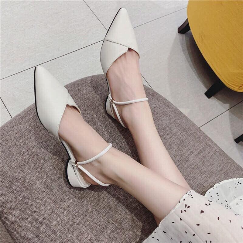 Giày sandal bít mũi da mềm đế cao 3cm thiết kế 2 quai đôi đi được 2 kiểu quai hậu kiểu dáng thời trang dễ phối đồ