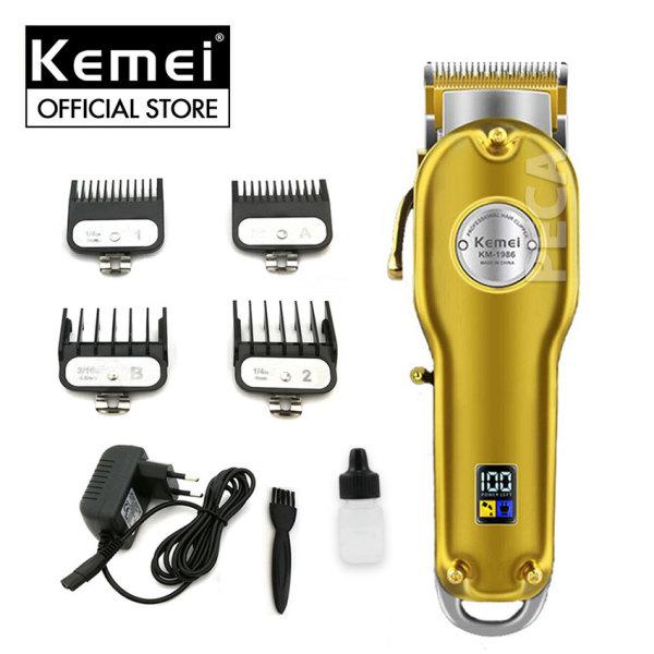 Tông đơ cắt tóc chuyên nghiệp Kemei KM-1986 màn hình LCD hiển thị thông minh pin lithium trâu sử dụng đến 5 tiếng có thể dùng cạo trắng, fade, tattoo tóc dễ dàng