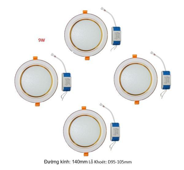 Combo 4 bộ đèn Led âm trần viền vàng 9W 3 màu 3 chế độ HG