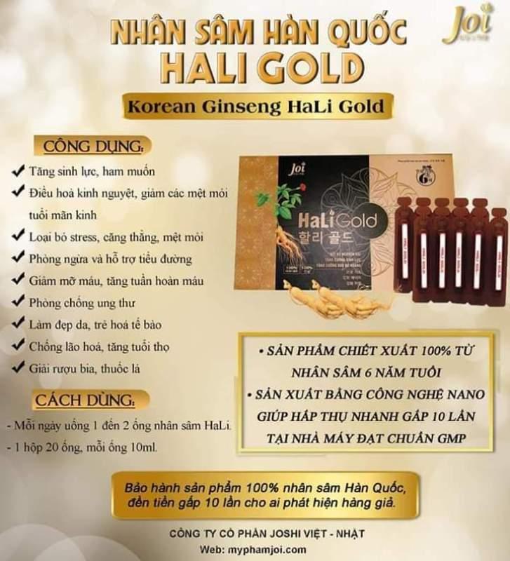 SIÊU PHẨM MỚI NHÂN SÂM HALI GOLD 1 hộp nhập khẩu