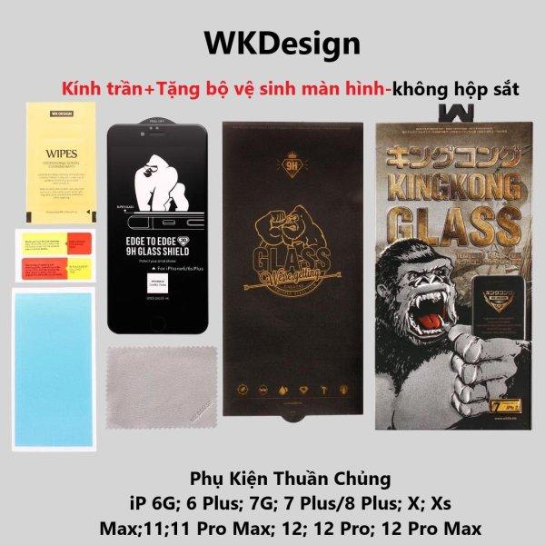 Miếng dán kính cường Lực iphone 3D WK KingKong (KHÔNG HỘP) dành cho Iphone 6, 6Plus, 6s, 6sPlus, 7, 7Plus, 8, 8 Plus, X, Xs, Xr, XsMax, ip11, ip11 pro, ip 11promax-TẶNG BỘ VỆ SINH MÀN HÌNH CHÍNH HÃNG.