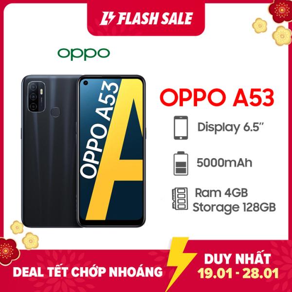 Điện thoại Oppo A53 (2020) Bộ nhớ trong 128GB   Hàng chính hãng, mới 100%, Nguyên Seal   Bảo hành 12 tháng trên toàn quốc   Màn hình 6.5 inch   Pin 5000 mAh